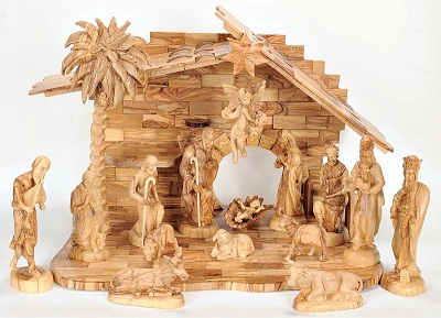Large Hand Carved Olive Wood Nativity Scene Set Musical